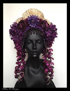 MADE TO ORDER Purple Flower Headdress with by MissGDesignsShop, $325.00