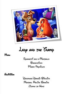 Lady and the Tramp Movie Night menu and activities!
