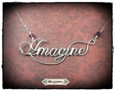 Word Necklace Sterling Silver Calligraphy Script by SilverTrove, $59.97