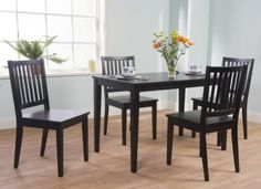 TMS 5-Piece Shaker Dining Set, Black at http://suliaszone.com/tms-5-piece-shaker-dining-set-black/