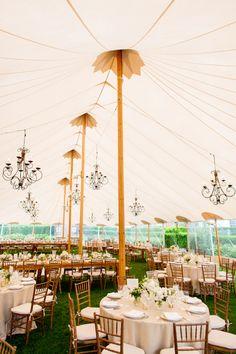 Incredible wedding tent for Hamptons inspired garden affair, photo by Jonathan Young Weddings | via junebugweddings.com