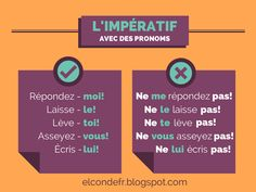 El Conde. fr: L'impératif avec des pronoms French Teaching Resources, Teaching French, Grammar Posters, French Conversation, French For Beginners, French Grammar, French Classroom, French Teacher, Learn French