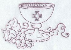 Machine Embroidery Designs at Embroidery Library! Première Communion, First Holy Communion, Machine Embroidery Designs, Embroidery Patterns, Wiccan Rituals, Jesus Book, Altar Cloth, Communion Invitations, Christian Symbols