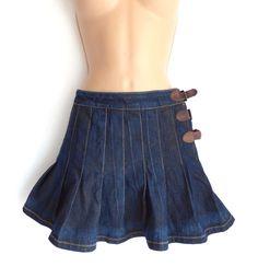 Vintage Blue Denim ONLY JEANS TRAVIS Short Mini Pleated Skirt Size UK 14 #ONLY #PleatedKilt #Casual