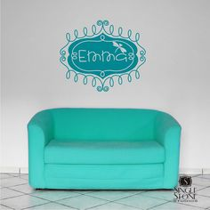 Custom Wall Decal Name Frame  Vinyl Text by singlestonestudios, $24.00. This too I just love it above her bed!!