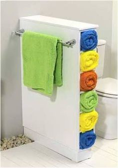 Vertical display stand to flaunt your colourful bath linens.