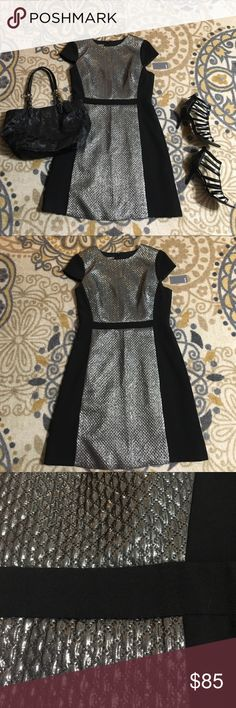 NEW Muse black & Chrome beautiful career dress Very nice for a stylish and professional appearance. It is hard to accurately display the metallic part. It is NOT sequins.  It is a textured, moderately shimmery dress. It is not too much, even though pic makes it look like possibly a bit much. Zip back. Muse Dresses