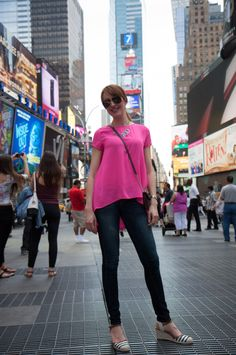Hot pink Evereve top, Express jeans, Abound striped espadrilles, Kate Spade burgundy crossbody - more details on the blog