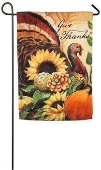 Give Thanks Turkey Fall Garden Flag