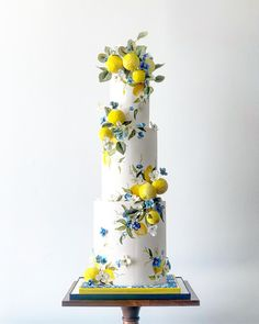 Italian inspired sugar lemon wedding cake made with Satin Ice Beautiful Wedding Cakes, Gorgeous Cakes, Pretty Cakes, Cute Cakes, Amazing Cakes, Lemon Wedding Cakes, Fondant Wedding Cakes, Cake Fondant, Cupcake Decoration