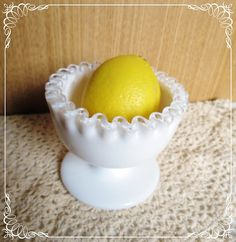 Vintage Fenton Silver Crest Ruffled Candy Dish White Glass