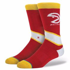 NEW STACE NBA Legends Atlanta Hawks Red Classic Pique Socks Mens Size M 6-8.5 #Stance #Crew