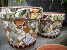 This is a set of three mosaic flower pots that are all slightly different sizes. They have been covered with similar pieces of china including a set of Waverly saucers. Price is for the set.    Convo me for exact shipping quote. Shipping overage will be refunded if it exceeds $2.