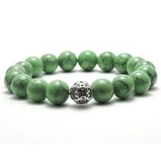 Women's 10mm Green Black Texture Natural Beads Stretch Bracelet - 19159877 - Overstock.com Shopping - Top Rated Crystal, Glass & Bead Bracelets