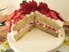 Gluten Free Vanilla Strawberry Double Tiered Cake