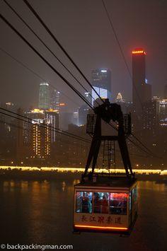 Cable car at night crossing the Yangtze River in Chongqing. Beijing, Shanghai, China Travel, China Trip, The Bund, City Pass, Chongqing, Smart City, The Good Place