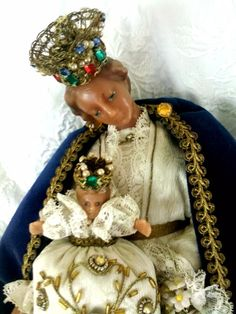 Very Old 1800s Antique Madonna and Child Wax Doll