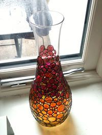 hand painted glass vase by TheCraftyBugger on Etsy, £25.00