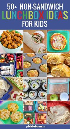 Huge list of non-sandwich lunchbox ideas for kids! Perfect for when your kids are tired of PBJs every day at school. Even after all these years I still struggle to come up with lunchbox ideas for my non-sandwich eaters - so here is a list of ideas! Lunch Snacks, Non Sandwich Lunches, Lunch Box Recipes, Cold Lunches, Healthy Lunchbox Snacks, Kids Lunch For School, Healthy Lunches For Kids, Toddler Lunches, Kids Meals