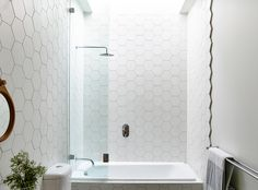 bathroom hex tile wall - Google Search More
