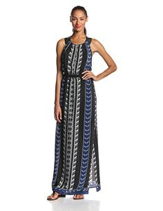 Twelfth Street by Cynthia Vincent Women's Silk Tribal Print Leather Racerback Maxi Dress, Tribal Romance, Small