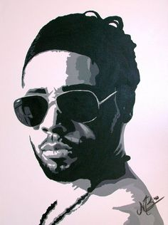 Ali Sleiman, Famous DJ and Entertainer in Dubai, Contrast painting acryl on canvas 2010 by Marianne Bakkerud, MB Art