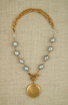 gray freshwater pearl necklace with vintage locket by ExVoto Vintage jewelry