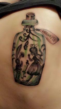 Alice In Wonderland Tattoo - http://prettygirlytattoos.com/alice-wonderland-tattoo/