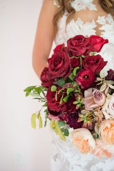 Moody Deep Red Rose Garden Rose Natural Juliet Garden Style Bouquet | Design: Colonial House of Flowers | Photography: Kelli Boyd Photography | Dress: Bleu Belle Bridal, Savannah, Georgia | Rosaprima Roses Flowers sourced through Mayesh Wholesale Florist in Los Angles