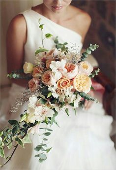 "Bride's Cascading Bouquet Comprised Of: White Alstromeria, Peach Roses, Peach ""Juliet"" English Garden Roses, Baby Blue Eucalyptus, Green Trailing Ivy ^^^^"