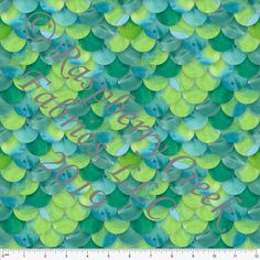 ea666a10cf5 Tonal Teal and Green Watercolor Mermaid Scale 4 Way Stretch MATTE SWIM Knit  Fabric, Club Fabrics