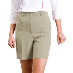 """Monterey Club Ladies Shorts Poly/Rayon/Spandex Twill Solid Color #834W (Khaki, Size:18W). With the signature dry swing technique, it keeps the moisture away. Soft and stretchy fabric gives you comfy all day long. , All measurement is approximate, -/+ 1/2"""" is manufacturing standard. Monterey Club is well known for the quality in the golf industry since 1987. Products are sold in all 50 states, Puerto Rico,Mexico, and Australia."""