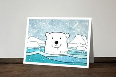 Polar Bear Card - Illustrated Winter Holiday, Christmas Animal Card