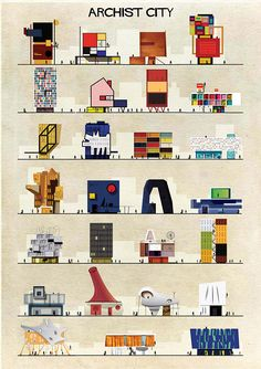 Archist posters by Italian architect & designer Federico Babina, where he imagines what buildings by 27 famous artists would look like.