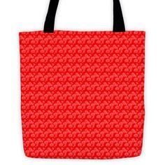 Red Flower Patern Tote Bag