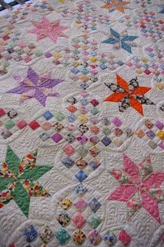 @ Quilts on Bastings: Vintage Le Moyne Star Quilt - quilted with longarm machine quilting by Karen Old Quilts, Antique Quilts, Star Quilts, Scrappy Quilts, Quilt Blocks, Patchwork Quilting, Patch Quilt, Machine Quilting Patterns, Longarm Quilting