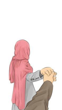 Cute Couple Drawings, Cute Couple Cartoon, Cute Couple Art, Cute Love Cartoons, Cute Muslim Couples, Cute Couples, Cover Wattpad, Hijab Drawing, Animated Love Images