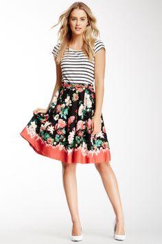 Floral Dip-Dye Print Skirt