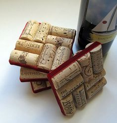 Wine corks with red velvet ribbon. Another awesome use for our huge collection of corks!