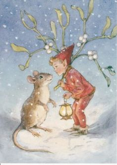 This vintage drawing of a fairy, a mouse, and mistletoe by Margaret Tarrant…