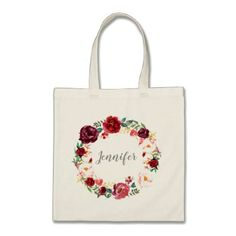 Fall Marsala Wreath Personalized Bridesmaid Tote Bag