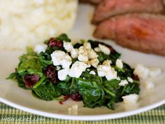 Sauteed Spinach with Cranberries and Feta - The Weary Chef