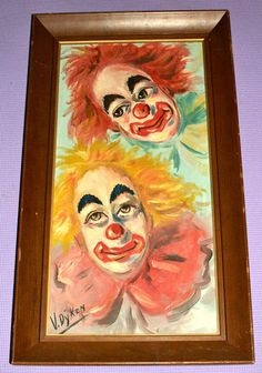 Vintage Original Twin Big Eye Clowns Painting a 60s Modern Kitsch Art | eBay. TERRIFYING.