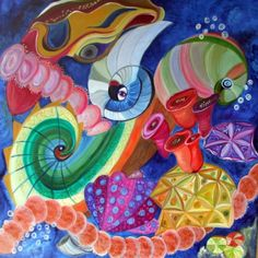 organische vormen onder water Peter Rabbit, Princess Peach, Painting, Fictional Characters, Design, Art, School, Water, Food