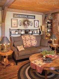 primitive homes decor Primitive Homes, Primitive Living Room, Country Primitive, Primitive Decor, Country Sampler, Primitive Antiques, Primitive Christmas, Primitive Country Bedrooms, Prim Decor