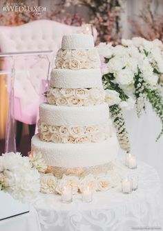 WedLuxe Magazine white wedding cake