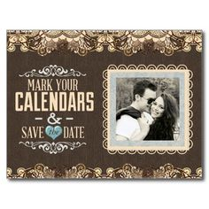 Blue and Brown Lace Save the Date with Hearts Post Cards