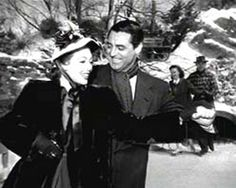 """Grant and Young ice skating together in """"The Bishop's Wife"""""""