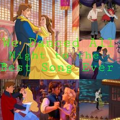 We danced all night to the best song ever! One Direction and disney princesses Best Song Ever, Best Songs, Disney Princesses And Princes, Disney Couples, Disney Characters, Fictional Characters, Aurora Sleeping Beauty, Dance, Night