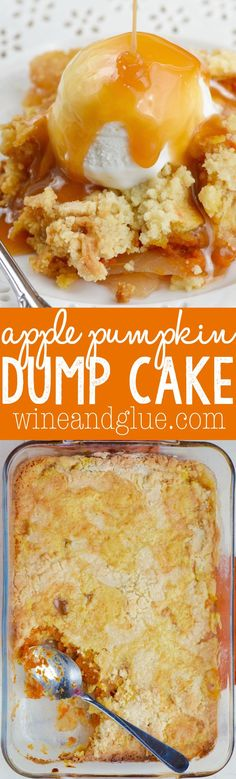 Apple and pumpkin combine perfectly in this delicious FOUR INGREDIENT Apple Pumpkin Dump Cake! Fall Desserts, Just Desserts, Delicious Desserts, Yummy Food, Apple Desserts, Apple Recipes, Fall Recipes, Holiday Recipes, Canned Pumpkin Recipes